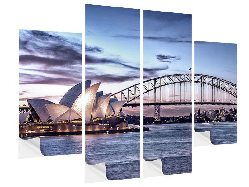 Klebeposter 4-teilig Skyline Sydney Opera House