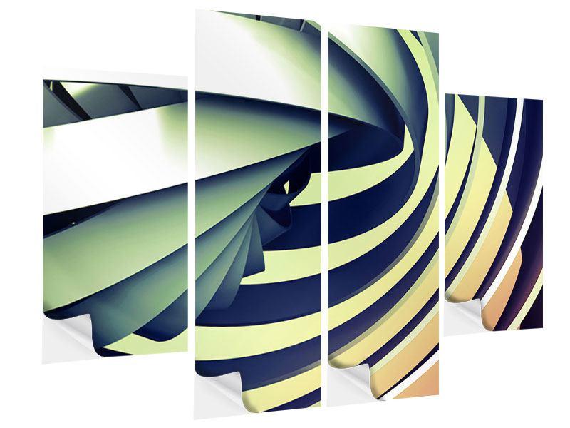 Klebeposter 4-teilig Abstrakte Perspektiven
