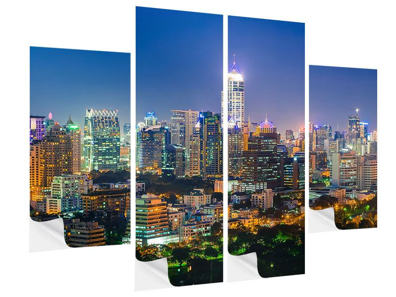 Klebeposter 4-teilig Skyline One Night in Bangkok