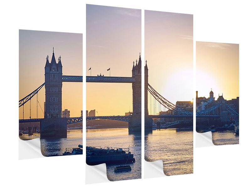 Klebeposter 4-teilig Tower Bridge bei Sonnenuntergang