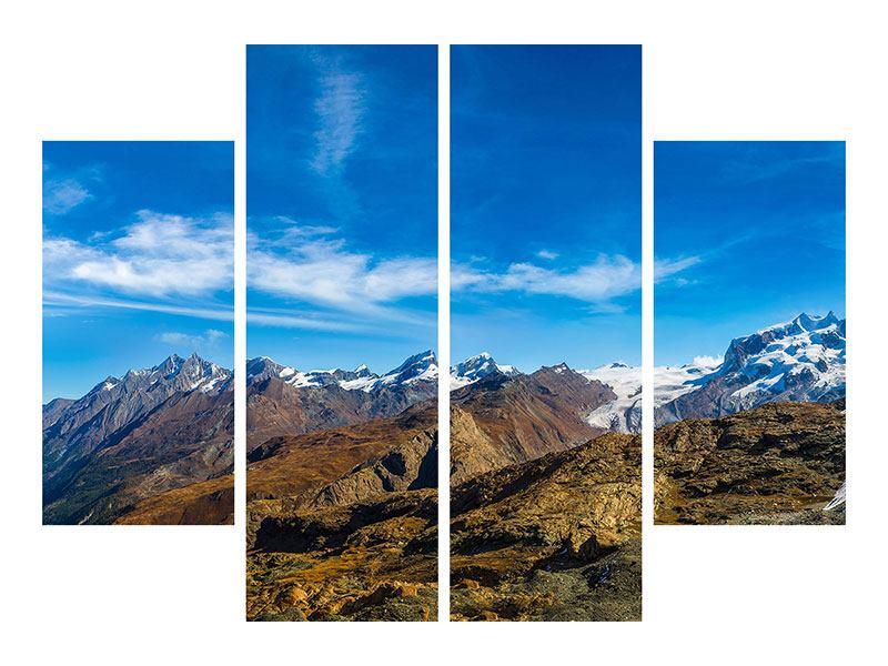 Klebeposter 4-teilig Schweizer Alpen im Frühling