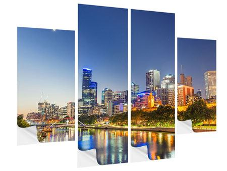 Klebeposter 4-teilig Skyline Sydney in der Abenddämmerung