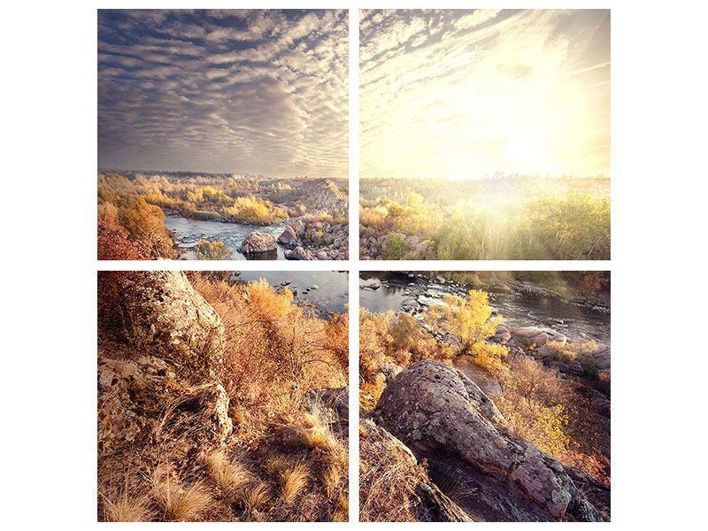 Klebeposter 4-teilig Sonnenaufgang am Fluss