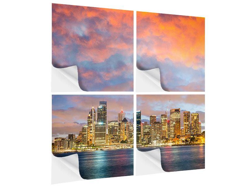 Klebeposter 4-teilig Skyline Das Lichtermeer von Sydney