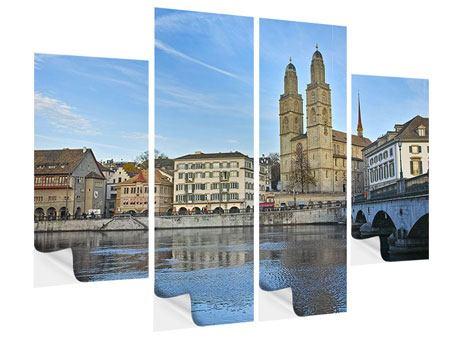 Klebeposter 4-teilig Die Altstadt von Zürich
