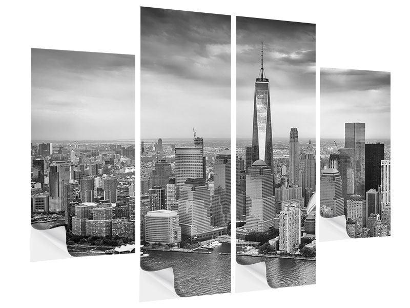 Klebeposter 4-teilig Skyline Schwarzweissfotografie New York