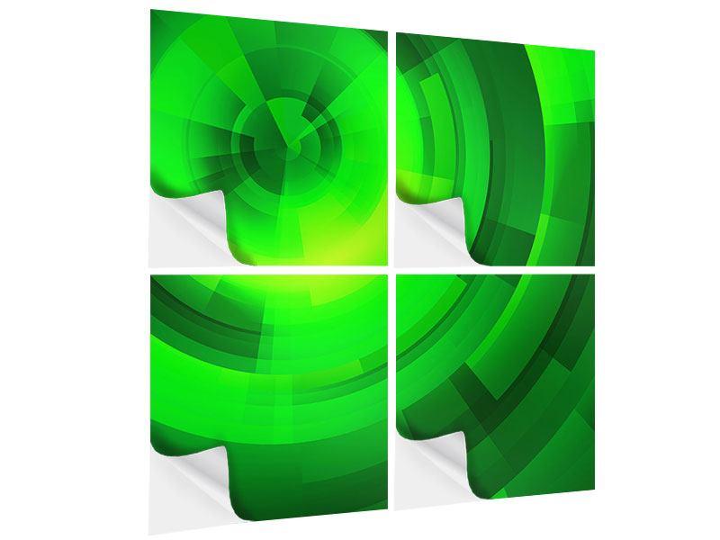 Klebeposter 4-teilig Perspektiven in Grün