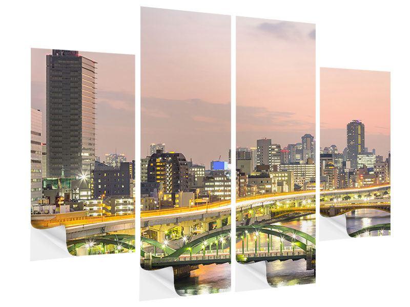 Klebeposter 4-teilig Skyline Das Lichtermeer von Tokio