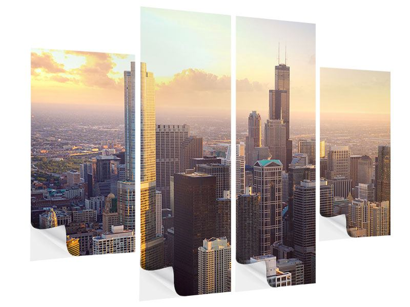 Klebeposter 4-teilig Skyline Chicago