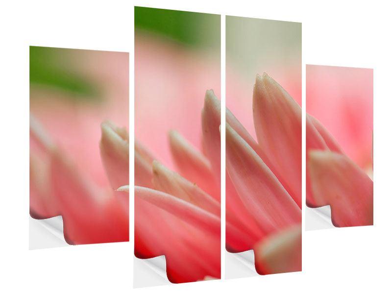 Klebeposter 4-teilig Close Up einer Blüte