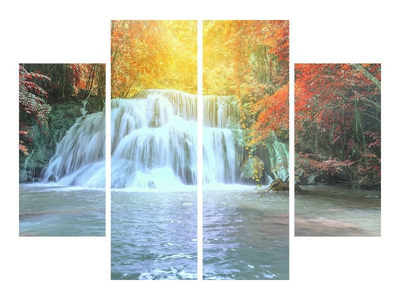 Klebeposter 4-teilig Wasserfall im Licht