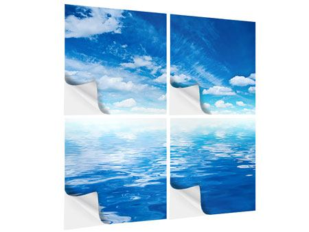 Klebeposter 4-teilig Himmel und Wasser