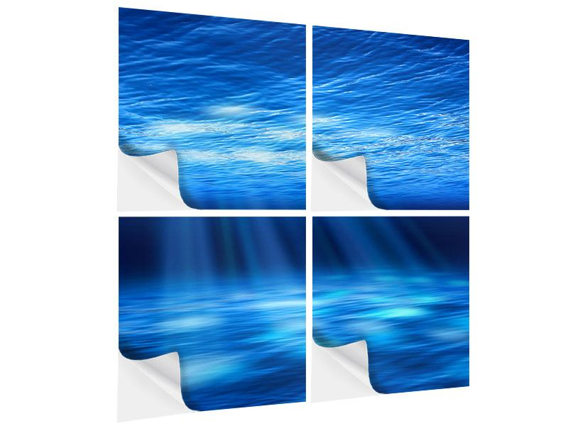 Klebeposter 4-teilig Licht unter Wasser