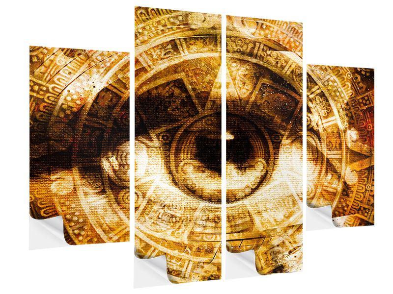 Klebeposter 4-teilig Fraktales Auge