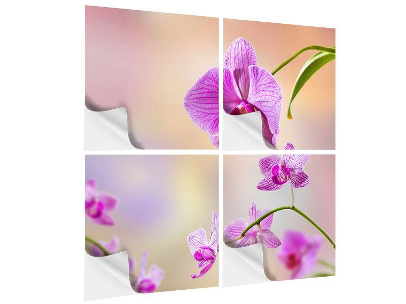 Klebeposter 4-teilig Romantische Orchideen