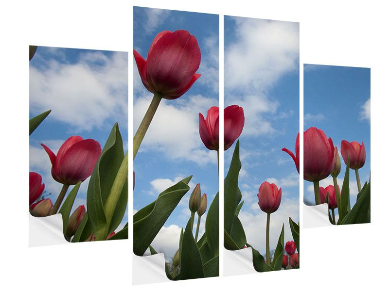 Klebeposter 4-teilig Tulpen im Himmel