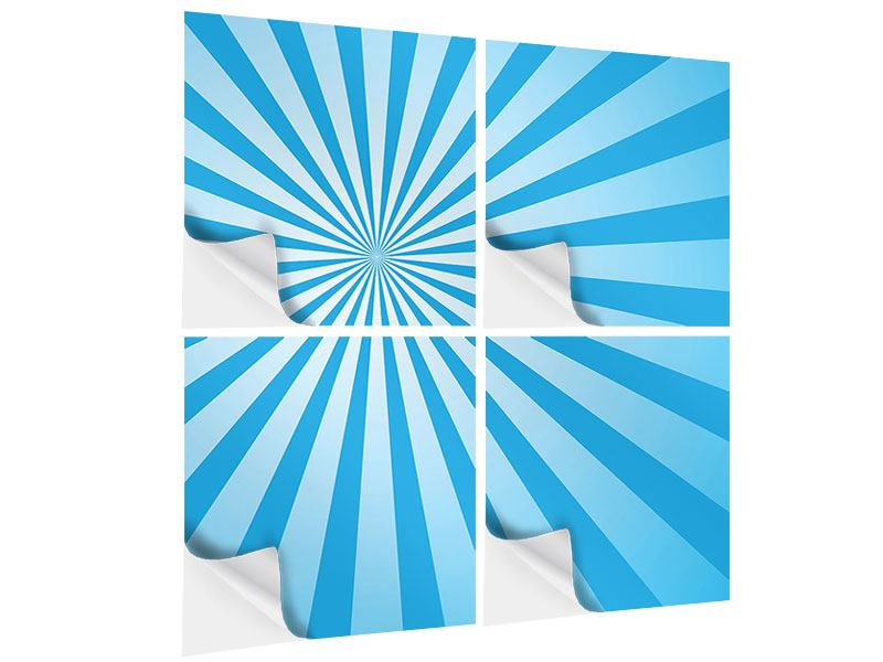 Klebeposter 4-teilig Retrowelle Streifenperspektive