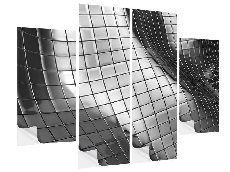 Klebeposter 4-teilig Abstrakter Stahl