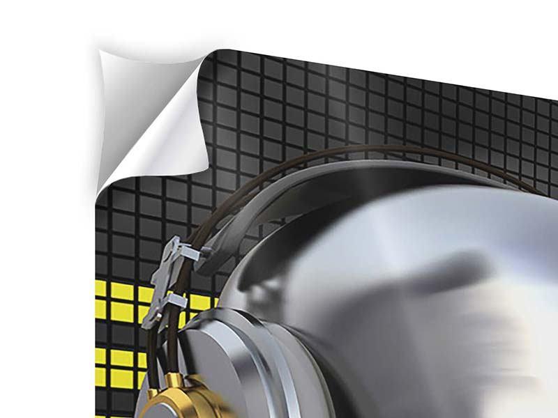 Klebeposter 4-teilig Futuristischer DJ