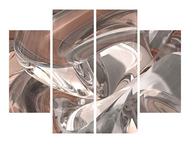 Klebeposter 4-teilig Abstraktes Glasfliessen
