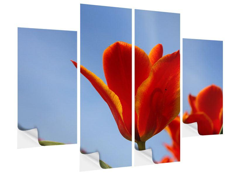 Klebeposter 4-teilig Rote Tulpen in XXL