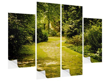 4 Piece Self-Adhesive Poster Moss-Covered Path