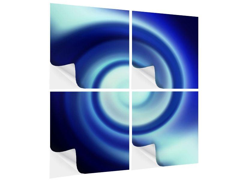 Klebeposter 4-teilig Abstrakte Blaue Wirbel