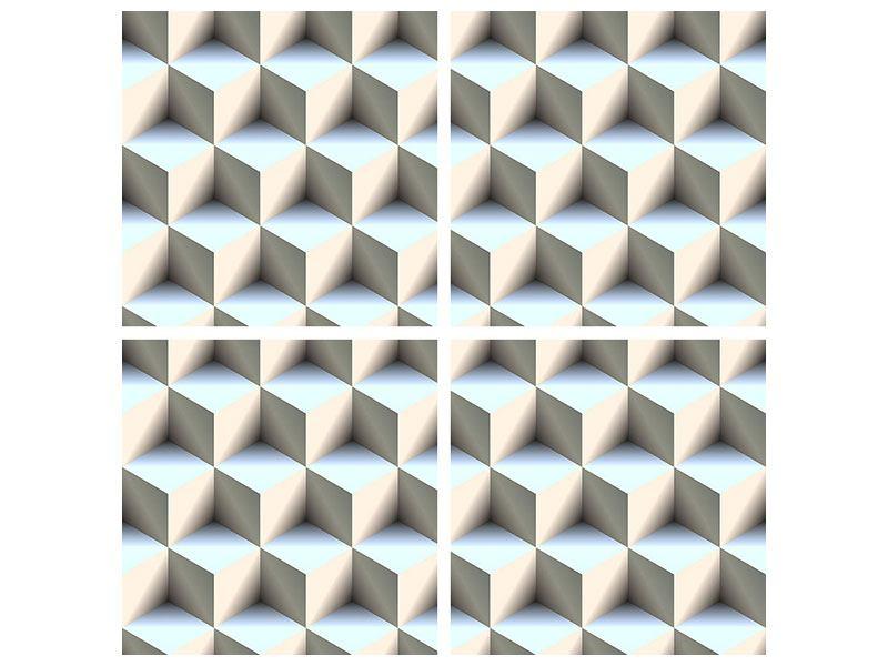 Klebeposter 4-teilig 3D-Polytop