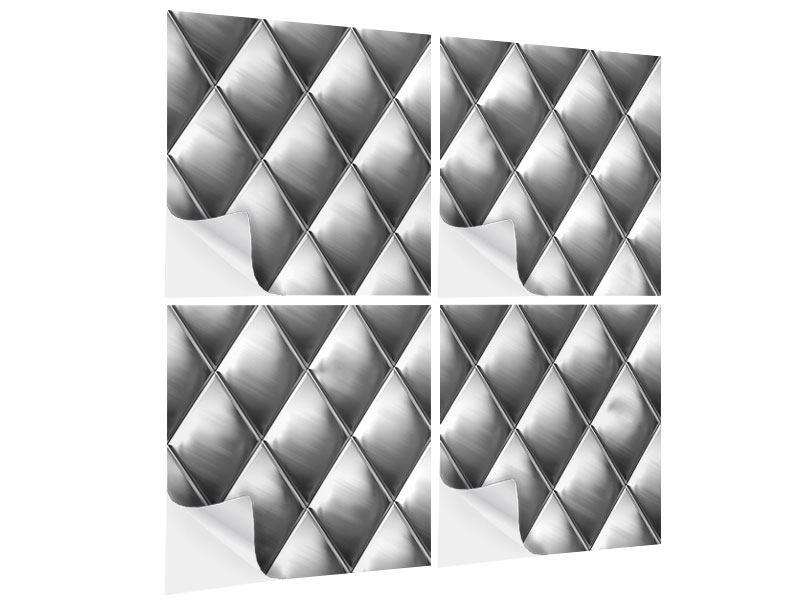 Klebeposter 4-teilig 3D-Rauten Silbergrau