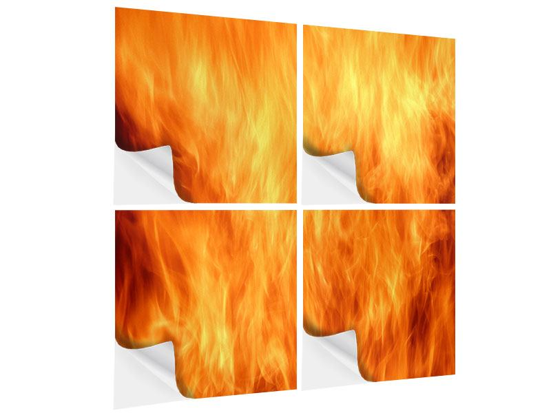 Klebeposter 4-teilig Flammen