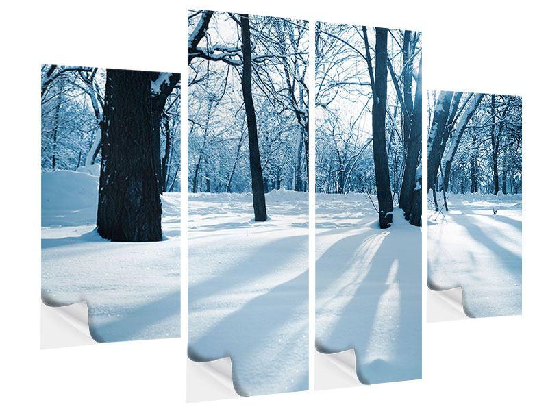 Klebeposter 4-teilig Der Wald ohne Spuren im Schnee