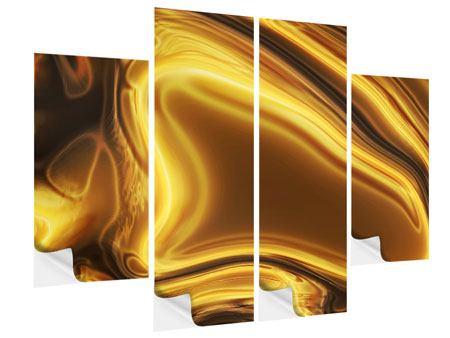 Klebeposter 4-teilig Abstrakt Flüssiges Gold
