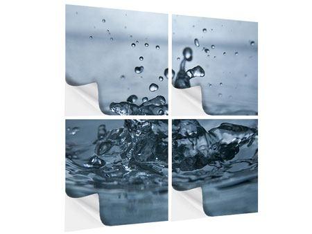 Klebeposter 4-teilig Wassertropfen