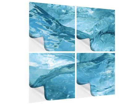 Klebeposter 4-teilig Cooler Eislook