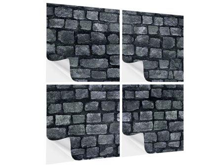 Klebeposter 4-teilig Graue Steinmauer