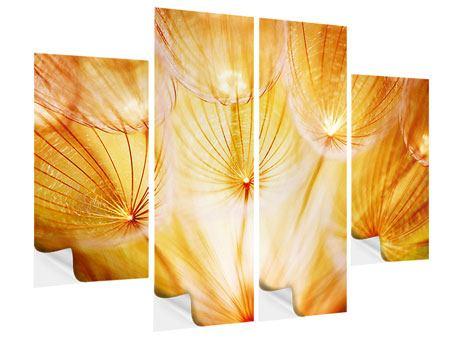 Klebeposter 4-teilig Close Up Pusteblume im Licht