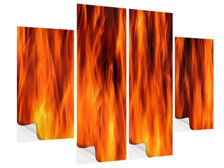 Klebeposter 4-teilig Feuer Close Up