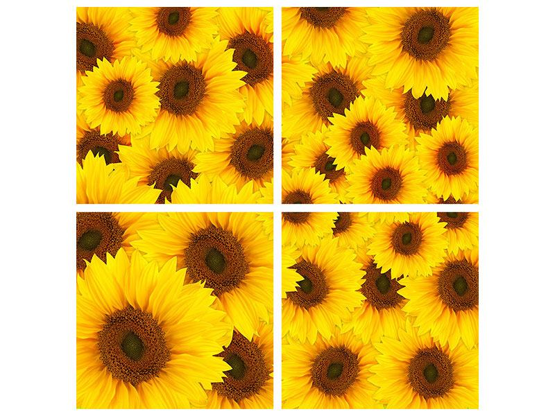 Klebeposter 4-teilig Ein Strauss Sonnenblumen