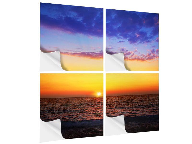 Klebeposter 4-teilig Leuchtender Sonnenuntergang