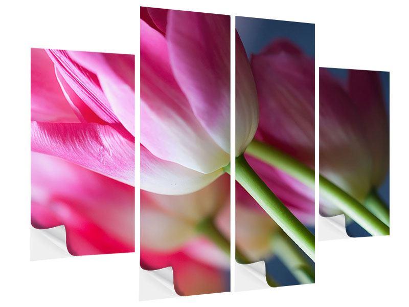 Klebeposter 4-teilig Makro Tulpen