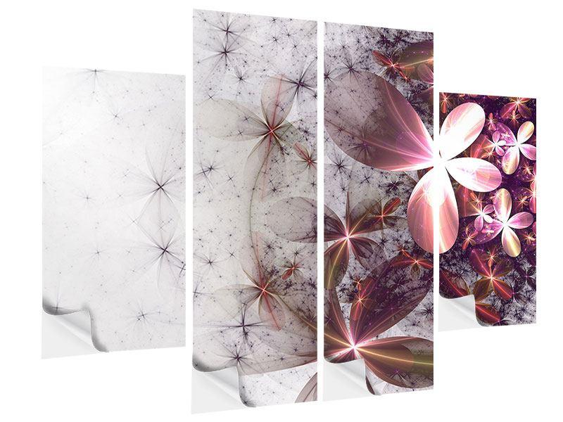 Klebeposter 4-teilig Abstrakte Blumen