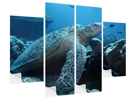 Klebeposter 4-teilig Die Meeresschildkröte