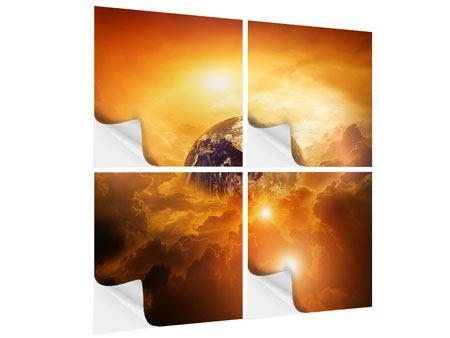 Klebeposter 4-teilig Mystischer Planet Erde