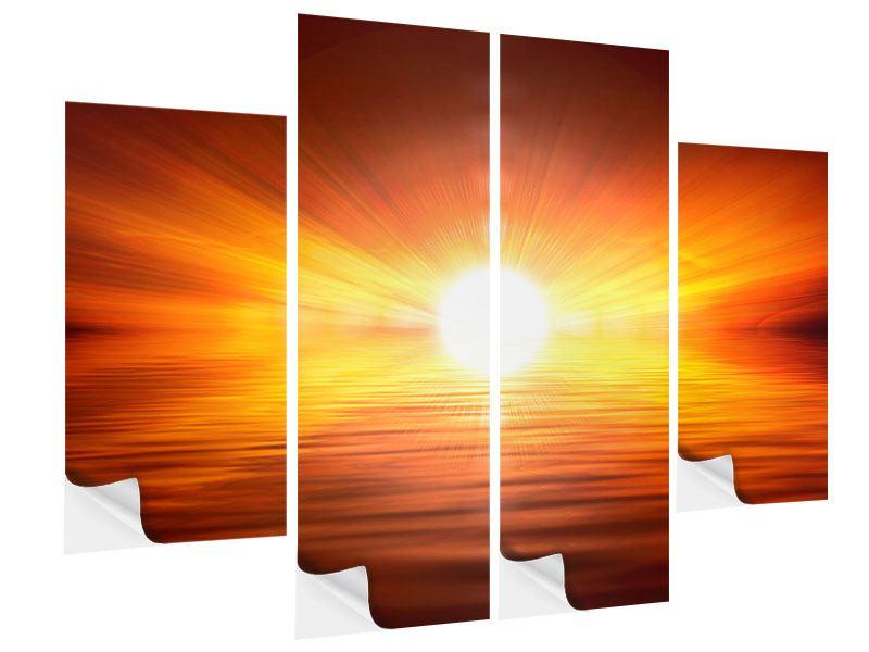 Klebeposter 4-teilig Glühender Sonnenuntergang