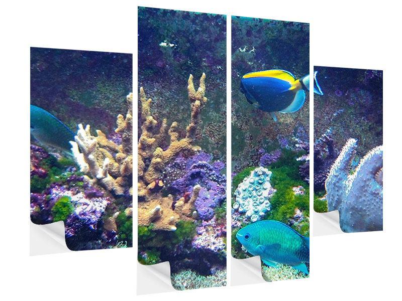Klebeposter 4-teilig Fische