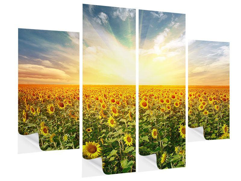 Klebeposter 4-teilig Ein Feld voller Sonnenblumen