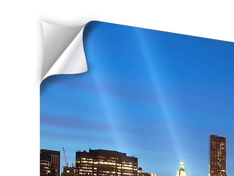 Klebeposter 4-teilig Skyline Manhattan im Lichtermeer