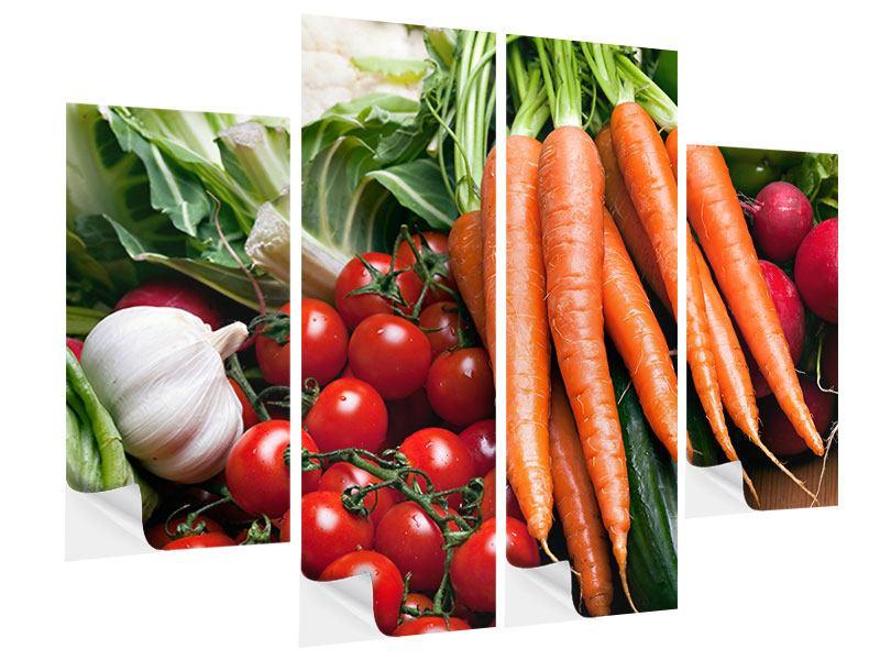 Klebeposter 4-teilig Gemüse