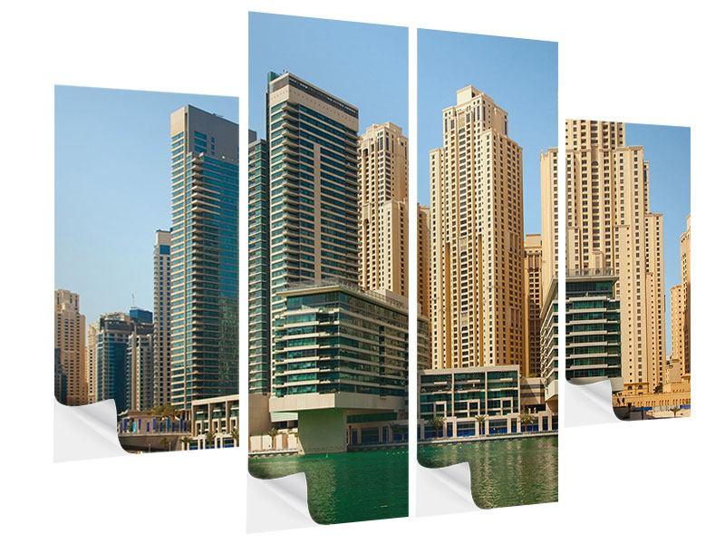 Klebeposter 4-teilig Spektakuläre Wolkenkratzer Dubai