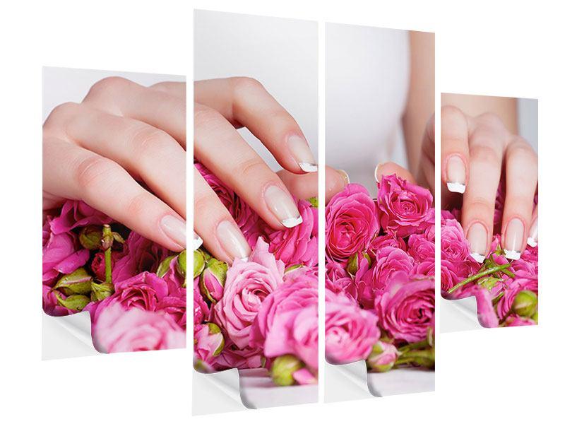 Klebeposter 4-teilig Hände auf Rosen gebettet